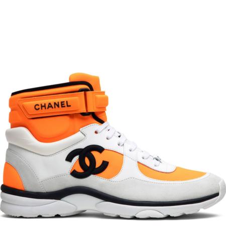 Chanel CC Logo High Sneaker 'Orange White' (G33728 Y52847 K0727)
