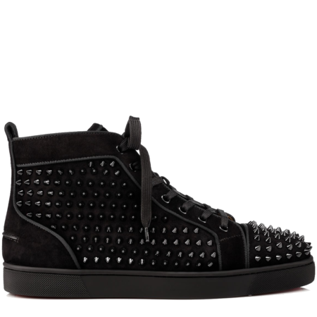 Christian Louboutin Louis Flat Spikes Suede 'Black' (3160092B049)