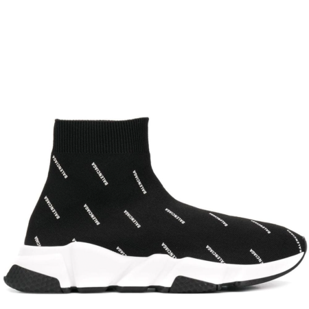 Balenciaga Speed Trainer 'Black White Jacquard All Over Logo' (W) (525721 W0650 1000)