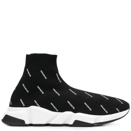 Balenciaga Speed Trainer 'Black White Jacquard All Over Logo' (530360 W0650)