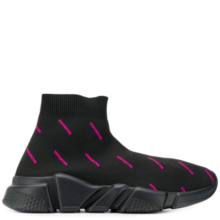 Balenciaga Speed Trainer 'Black White Pink Jacquard All Over Logo' (W) (579614 W0650 1000)