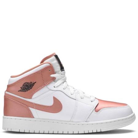 Air Jordan 1 Mid GS 'White Rose Gold' (W) (555112 190)