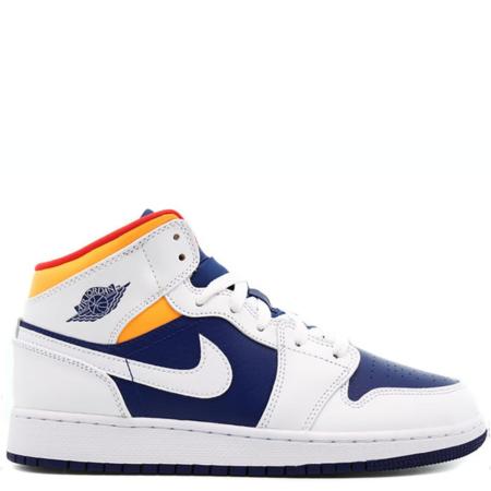 Air Jordan 1 Mid 'White Laser Orange Deep Royal Blue' (GS) (554725 131)