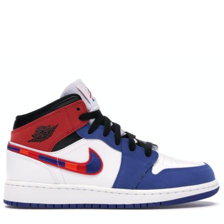Air Jordan 1 Mid 'Rush Blue University Red' (GS) (BQ6931 146)