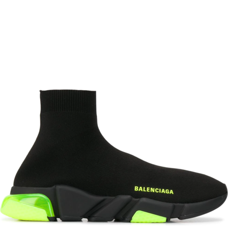 Balenciaga Speed Trainer 'All Black Yellow Neon' (607544W05GJ)